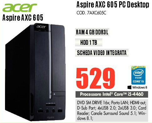 Acer Aspire AXC 605 PC Desktop HDD1TB